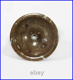 Fossil Marble Round Sink 380 Millions Years Old 420mm wide